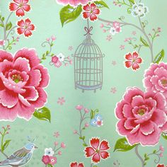 "Lovely mint colored wallpaper ""Birds in Paradise green"" bij Pip Studio"