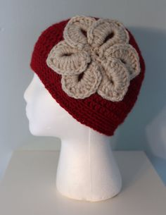Crochet Women's Winter Hat with Flower Dark Red and by makinitmama, $25.00