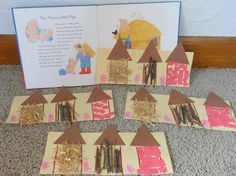 The Three Little Pigs Craft (from Kerry at The Playful Garden Child Care via FB… 3 Little Pigs Activities, Fairy Tale Activities, Three Little Pigs Houses, Fairy Tale Crafts, Art For Kids, Crafts For Kids, Pig Crafts, Traditional Tales, Pig Art