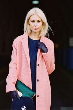 Pink Coat, Navy Blue Dress, Green Clutch and Black Gloves