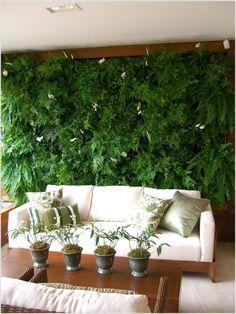 Lawn & Garden Green Living Room Design Indoor Vertical Garden White Comfy Sofa Green Flower Pattern Cuahion Square Teak Varnished Table Living Wall Ideas Gorgeous Indoor Vertical Garden