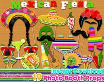 Mexica Fiesta photo booth props, Mexican fiesta birthday party, 5 de mayo, party decor, Photo Booth props set, Printable - INSTANT DOWNLOAD
