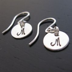 JENA (initial) tiny hand stamped sterling silver earrings