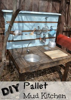 This DIY Pallet Mud Kitchen is part of a blog hop with some of my blog friends. We have all come together to share different ways to repurpose pallets.