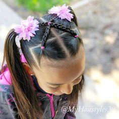Criss Cross Braids i Easy Little Girl Hairstyles, Girls Hairdos, Girls Natural Hairstyles, Kids Braided Hairstyles, Cute Girls Hairstyles, Princess Hairstyles, Ponytail Hairstyles, Prom Hairstyles, Halloween Hairstyles
