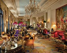 George V Hotel in Paris. Lobby always full of fresh cut flowers. Absolutely amazing view of Eiffel Tower. Definite must see even if you just sit and have tea or a glass of champagne.