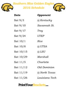 Printable Southern Miss Golden Eagles Football Schedule 2016
