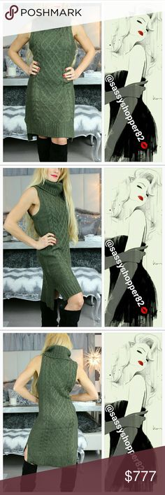 """""""OLIVIA"""" Cable knit sweater dress NWT Brand new no tags  Grab this fabulous cable knitted turtleneck dress for your winter wardrobe featuring a beautiful olive green color. Pair with boots, denim jacket or fur coat and boots fr a smashing look!! High-low style, sassy slits on sides. Color is olive green. Material 100%acrylic  Shop with confidence Suggested User Same day shipping 5STAR rated closet Top seller  Model is 5'1"""" 105lbs,34b modeling a small Dresses Midi"""