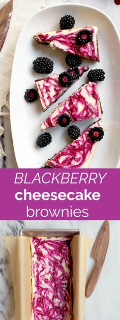 Blackberry Cheesecake Brownies for Two. Homemade brownie recipe in a loaf pan to serve two, with a blackberry swirl cheesecake top. Cheesecake brownies for two.