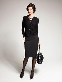 Love the shrunken cardi with the dark skirt. Very sophisticated.