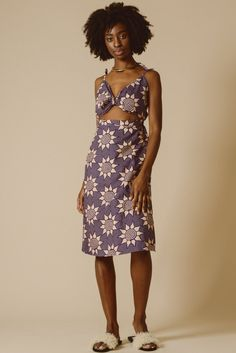 Unkha Bow Front Cut Out Dress in Orchid Blossom