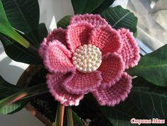 ergahandmade: Tunisian Crochet Flowers + Diagrams + Step By Step + Video