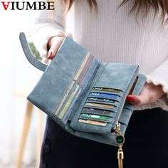 100 unidslote Marca Diseño mujeres cremallera embrague carteras monedero, alta calidad mujer señora bolso de cuero tarjeta monedero y teléfono holde