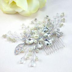 Manhattan Bridal Hair Comb, Wedding Hair Comb,  Pearl and Crystal Hair Comb, Bridal Wedding Hair Accessories, Floral Bridal Headpiece