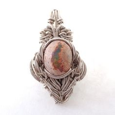 Heady Wire Wrap - Sterling Silver - Opal - Indicolite Tourmaline - Pendant on Etsy, $250.00