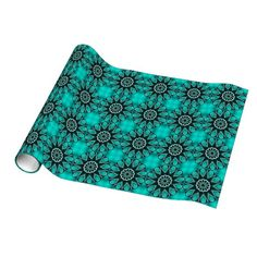 Teal Turquoise Retro Abstract Mosaic Pattern Gift Wrapping Paper