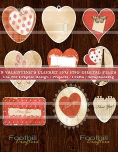 INSTANT DOWNLOAD   9 Vintage Valentine's by FoothillCrafters, $2.99 #vintagehearts #valentinesclipart #valentinesday #graphics #graphicdesign #vintagehearts #foothillcrafters #etsy_shop