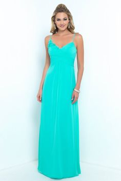 Alexia Designs #4198 - Bella Chiffon bridesmaid dress with spaghetti straps, pleated bust & floral detail.