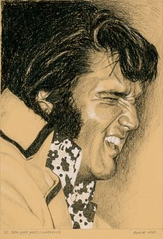 '72 New York Press Conference, 2013 Charcoal and Chalk on colored paper. ca. 15 x 21 cm. For Sale! www.elvis-art.com