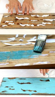 to Distress Wood & Furniture EASY Techniques & Videos!} Ultimate guide on how to distress wood and furniture. Video tutorials of 7 easy painting techniques that give great results of aged look using simple tools.Ultimate guide on how to distress wood an Distressed Wood Furniture, Reclaimed Furniture, Distressed Painting, Weathered Wood, Painting On Wood, Distressing Wood, Wood Wood, Painted Wood, Antiquing Wood