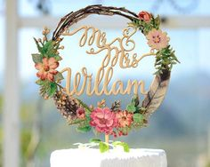 Personalized Wedding Cake Topper with Name, Wood Cake Topper Printed with Floral Wreath #150