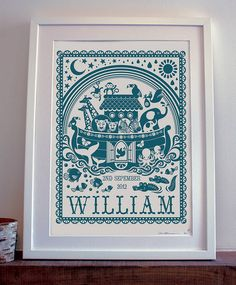 personalised noah's ark print by pepper print shop | notonthehighstreet.com
