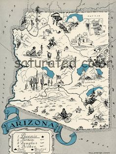 Vintage Arizona Map  digital image download  by SaturatedColor, $3.00