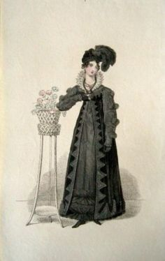 1818 Mourning dress, plate from La Belle Asemblee  http://pinterest.com/bohemianbird/la-plume-noir/