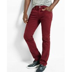 Express Slim Leg Slim Fit Berry Jeans (5240 DZD) ❤ liked on Polyvore featuring men's fashion, men's clothing, men's jeans, pink, mens pink jeans, express mens jeans, mens slim fit jeans, mens slim cut jeans and mens slim jeans