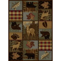@Overstock.com - Natural Multi Lodge Area Rug (7'10 x 10' 3) - Capture the majesty of nature with this Natural Lodge area rug in shades of brown, beige, green, blue, red and black with image designs of deer, bears, prints and leaves.  http://www.overstock.com/Home-Garden/Natural-Multi-Lodge-Area-Rug-710-x-10-3/7990950/product.html?CID=214117 $200.37