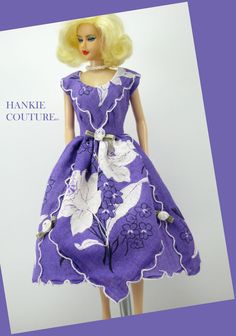 "Purple Daffodils from a magical land!!! Hanky dress to fit 11 1/2"" Barbie, my custom designed Hankie Couture doll (shown here), and similar sized dolls! #Hankiecouture #doll #hankie #hanky"