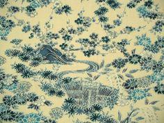 Garden Landscape scene Vintage Japanese wool