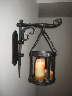 blacksmith hand forged large sconce gothic style.