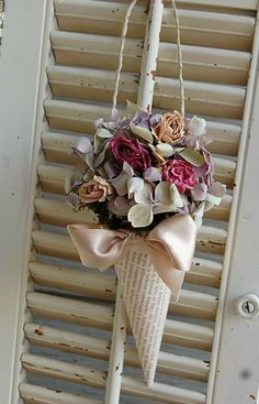 Book pages bouquet holder.