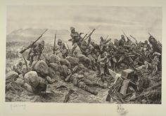 """My Brave Irish"" By R. Caton Woodville. Depicts the storming of the Boer positions on Pieter Hill at the battle of Val Krantz and Pieters by Major General Barton's 6th Fusilier Brigade on 27th February 1900. The only Irish regiment in the brigade was the Royal Dublin Fusiliers."