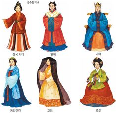 Korean Traditional Clothes.  Top:Three Kindoms of Korea, Balhae, Gaya,  Bottom:Unified Silla, Goryeo, Joseon.  #hanbok