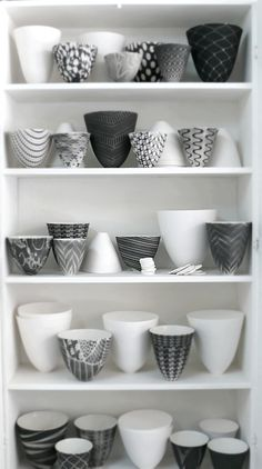 Black and white porcelain bowls by Sandy Godwin.