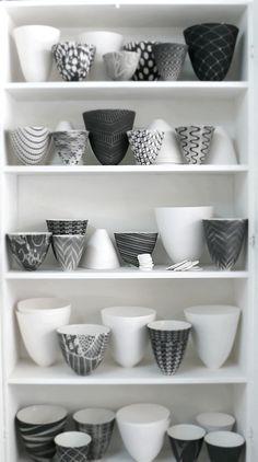 Black and white porcelain bowls by Sandy Godwin.