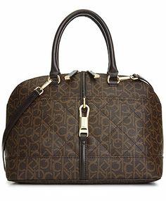 Calvin Klein Handbag, Luxe Lamb Monogram Satchel