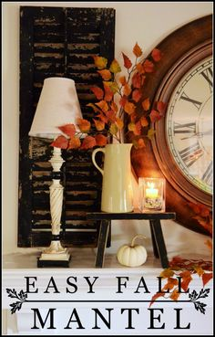 EASY FALL MANTEL-Here's a no fuss, easy and full of fall mantel-stonegableblog.com
