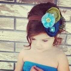 Gorgeous baby / toddler headband made by because love- since were talking weddings tarz and family here's some lil flower girl head bands for the peacock one( ehem kaylas future wedding look haha)