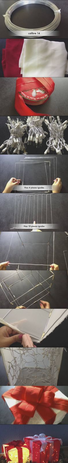 make your own light present using wire, fabric and hot glue gun