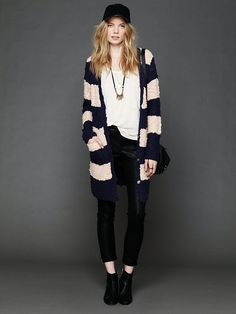 Free People Rugby Stripe Long Cardigan at Free People Clothing Boutique