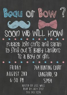 Chalkboard Gender Reveal Party Invitations by DarlingSailorDesigns