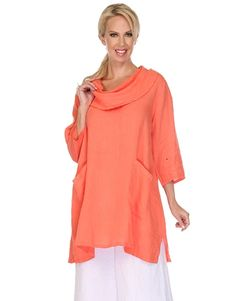 La Fixsun Linen Cowl Neck Tunic Two Pockets available in Coral and Provincial Blue Womens Linen Clothing, Red Coral, Cowl Neck, Indigo, Tunic Tops, Sleeves, Clothes, Black, Color