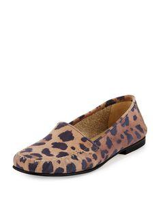 MANOLO BLAHNIK Speed Printed Suede Moccasin, Leopard. #manoloblahnik #shoes #