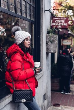 Jacket: tumblr red puffer beanie pom pom beanie bag black bag chain bag jeans grey jeans winter coat
