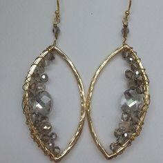 Hammered Smokey Stone Earrings