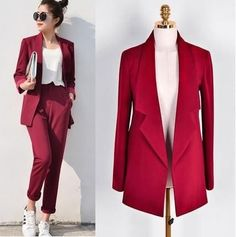 Cheap pant suits, Buy Quality pant suit womens directly from China elegant pant suits Suppliers: Pant Suits Women Casual Office Business Suits Formal Work Wear Sets Uniform Styles Elegant Pant Suits Drop Sale Office Fashion, Work Fashion, Fashion Looks, Fashion Outfits, Fashion 2018, Fashion News, Women's Fashion, Fashion Trends, Mode Costume