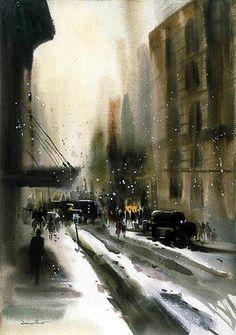 new york in snow, Doug Lew Whole Lotta Love, Illustration Art, Illustrations, Castle, Snow, Watercolor, York, Landscape, Acrylics